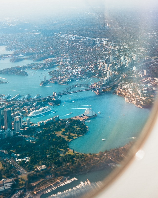 Plane wing - guide to sydney airport