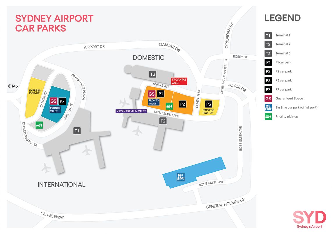 Sydney Airport Parking Map Domestic International BluEmu